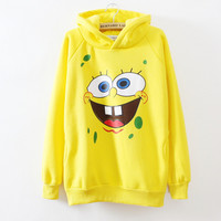 2014Most popular yellow cartoon with hoody hoodies for women newest style high quality fleece winter warm cotton sweatshirt 625