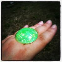 "Handmade  ""PrismGem"" Fluorescent Lime Green Glitter Loaded Large Resin Dome Bubble Adjustable Ring Made to Order"