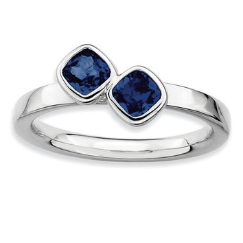 Sterling Silver & Created Sapphire Stackable 2 Stone Cushion-Cut Ring