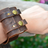 MiNiBook Treasure Bag Brown Leather Book Bracelet