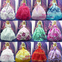 Random  Pick 15 Items = 5 Wedding Dress Princess Gown + 5 Pairs  Shoes + 5 Pink  Hangers Clothes  For Barbie Doll Gift  Baby Toy