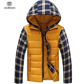 Men's Thermal Hooded Plaid Jacket