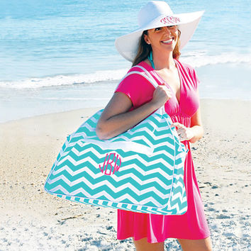 Large Beach Bag Tote Aqua Chevron Monogrammed Personalized Pool