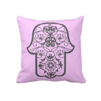 Floral Hamsa Throw Pillows from Zazzle.com