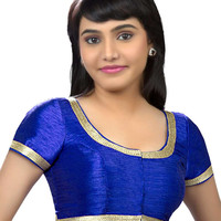 Elegant Royal Blue Party-wear Silk Sari Blouse SNT-X-256-SL