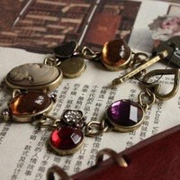 Lovely Fashion Unique Vintage Multicolor Gems&Beauty Portrait Toggle Bracelet