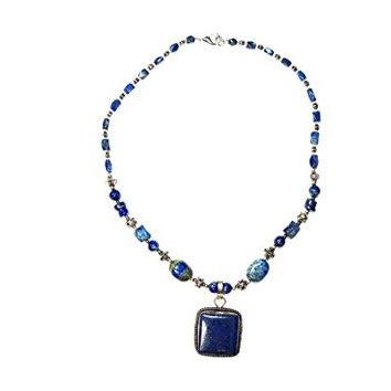 Hand Made Jewelry Lapiz Beads Square Pendent Necklace