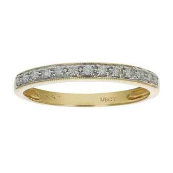 0.15 Carats 1/6 ctw Petite Diamond Wedding Band in 10K White Gold
