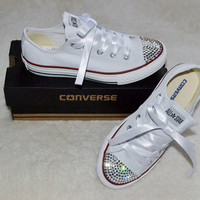 f091bf12939a Custom Crystal White Low Top All Star Converse Blinged Crystal Toes