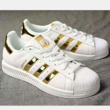VLXZRBC ADIDAS Superstar Shell Toe Women Casual Running Sport Shoes Sneakers white(gold reflec