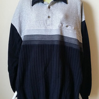 mens LD Sport collar shirt top size 2XLT, black gray stripes long sleeve vintage clothing