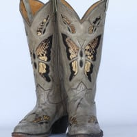 Beautiful vintage Tony Lama butterfly cutout with snakeskin inlay leather ladies cowboy boots 8 B SWEET