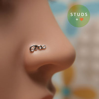 NOSE STUD /Swirl motif /Sterling Silver/Tragus earring/Cartilage earring/Nose ring/Nose hoop/Studs earrings/Ear Cuff/Helix earring