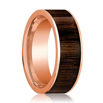 Mens Wedding Band Polished Flat 14k Rose Gold Wedding Ring with Black Walnut Wood Inlay  - 8mm