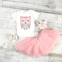 Pink owl baby Onesuit for newborn, 6 months, 12 months, and 18 months graphic baby Onesuit, baby girl clothing