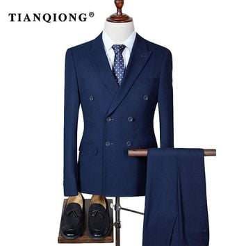 TIAN QIONG Double Breasted Slim Fit Suit