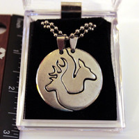 Unique metal buck doe deer head his hers couples hunting promise pendant necklace logo gift set 34mm comes with 2 sides