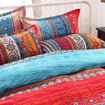 Cool Ms.O Stripe  Geometric Ethnic Vintage Bed Linen Full Twin Queen King Size Morocco Indian Bedding Set Bohemian Duvet Cover SetAT_93_12