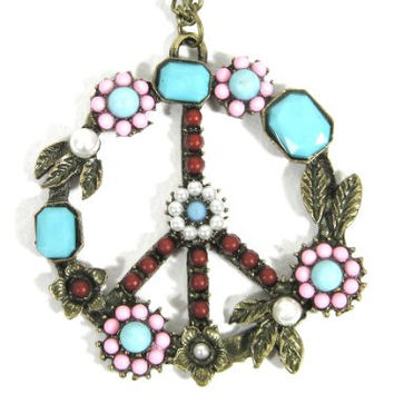 Peace Sign Necklace Flower Power Hippie Anti War ND16 Turquoise Dreamcatcher Pendant Fashion Jewelry