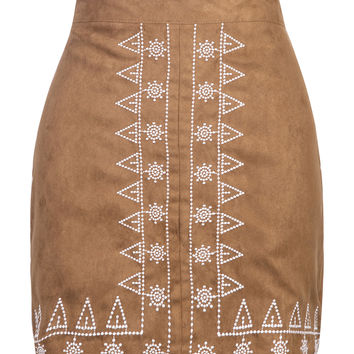 Brown Faux Suede Skirt with White Embroidery Pattern