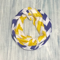 Purple & Yellow Chevron Jersey Knit Infinity Scarf