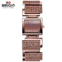 WEIQIN Crystal Rhinestone Bangle Watches Women Analog Quartz-watch Fashion Dress Ladies Watch Bracelet Female Relogios Feminino