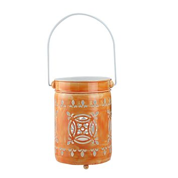 "7.5"" L'Eau de Fleur Bright Orange Cut-Out Votive Candle Lantern"
