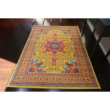 0532 Yellow Oriental Area Rugs