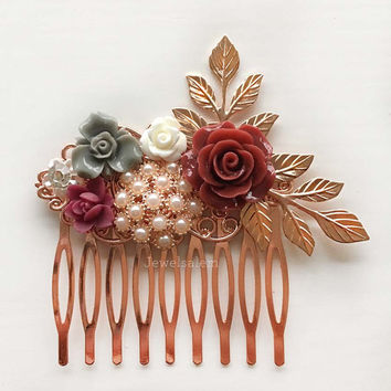 Rose Gold Hair Comb, Marsala, Wedding, Maroon, Burgundy, Red, Bridal Hair Pin, Rhinestones, Pearl, Hair Slide, Bridesmaids Gift, Hair Clip