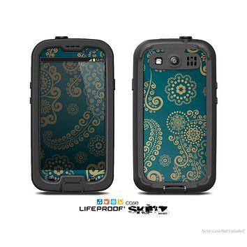The Green & Gold Lace Pattern Skin For The Samsung Galaxy S3 LifeProof Case