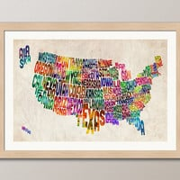 Typographic United States Map Text Art Print 18x24 by artPause