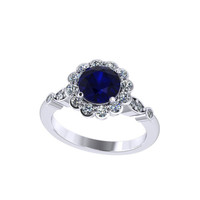 lab grown blue sapphire  diamond halo engagement ring, anniversary ring,style 35WDBS