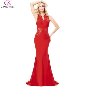 Grace Karin Mermaid Evening Dresses Sexy See Through Mesh Lace Red Wedding Party Ball Gowns Robe De Soiree Long Formal Dresses
