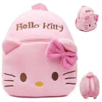 2017 New High Quality Hello Kitty plush school bag Cartoon soft Backpack Girl Toy Schoolbag baby cute mini bags For Kids Gift