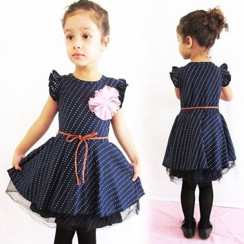 Cute Girls Kid Polka Dot Sleeveless Flower Princess Party Dress skirt+Belt  D_L = 1712874372