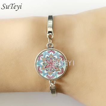 SUTEYI Brand Indian Henna Yoga Jewelry Om Symbol Buddhism Zen Colorful Mandala Flower Bracelet For Women Friends Gifts