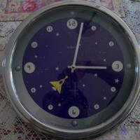 C D Baskerville Rocket Wall Clock Outer Space Stars Planets England Bedroom Play room Home Decor