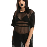 Black Oversized Fishnet Girls Top