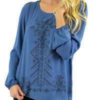 Snowflake Dreams Blue Embroidery Print Top