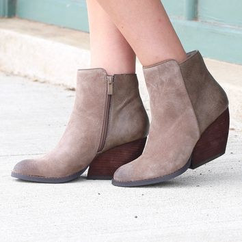 Very Volatile: Indie Suede + Leather Wedge Bootie {Taupe}