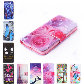 New two side Painted wallet Phone cover Rose Flower Tower pattern Flip Leather Case for Samsung Galaxy S4 mini i9190
