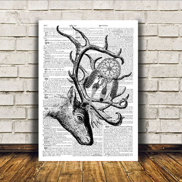 Wall decor Animal art Dictionary print Deer poster RTA335