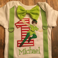 Boys first birthday Peter Pan themed suspenders and bow tie bodysuit