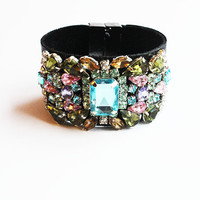 Hide Leather Crystal Embellished Cuff Bracelet