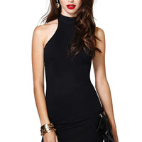 Casual Black Halter Neck Sleeveless Bodycon Dress