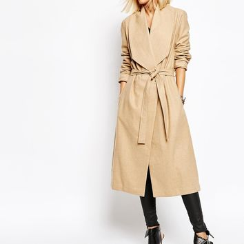 Religion Passage Drape Front Dresser Wool Coat With Belt