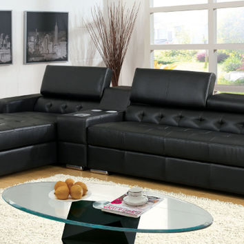 Furniture of america CM6122BK-CS 3 pc floria black bonded leather sectional sofa center speaker bluetooth console