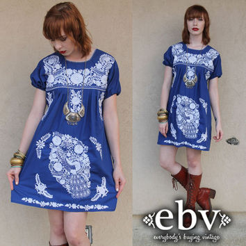 Vintage 70s Blue Mexican Embroidered Hippie Boho Mini Dress Tunic Top XS S M