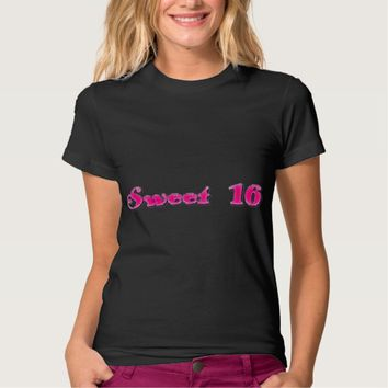 Sweet 16 Shiny Pink Typography Tee Shirt
