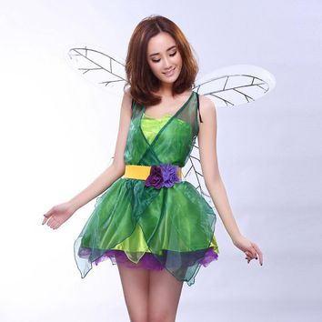 Hot Halloween Costume Women Cosplay Dresses Princess Spirit Green Elves Beautiful Fairy Angel Wings Comic And Animation Clothing